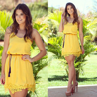 Yellow Sleeveless with Floral Lace Accent Mini Dress