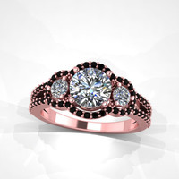 rose gold black and white diamond ring,engagement ring, with moissanite center. style 31RGDBLM