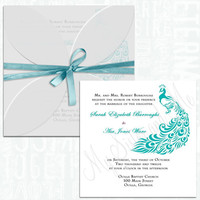 Wedding Invitation, Pochette Invitation, Peacock Invitation, Teal Invitation, Turquoise Invitation
