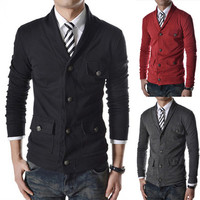 Multi-Pockets Men Cardigan Style Jacket