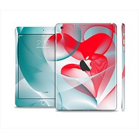 The Abstract Teal & Red Love Connect Full Body Skin Set for the Apple iPad Mini 2