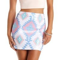 Aztec Sequin Bodycon Mini Skirt by Charlotte Russe - Multi