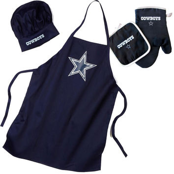 Dallas Cowboys NFL Barbeque Apron, Chef's Hat and Pot Holder Deluxe Set