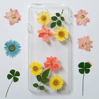 Floral  iPhone 5 Case, Pressed Flower iPhone 6 Plus Case, flower iPhone 5c Case, Clear iPhone 6 Case, iPhone 5s Case Clear,flower Phone Case
