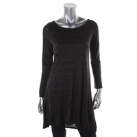 Eileen Fisher Womens Heathered Ballet Neck Tunic Top
