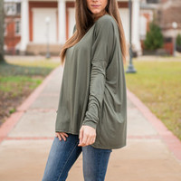 Oh So Easy Piko Top, Forest Green