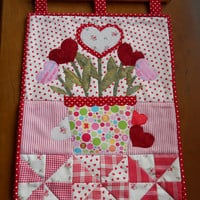 Pretty Wallhanging. Spring Wallhanging, Pot of Hearts,