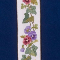 Victorian Flower Bell Pull - Hand Stitched Floral Pansy & Ivy Leaves Cross Stitch with Brass Ends