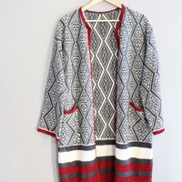 Knitted Long Cardigan Knitted Coat Minimalist Slouchy Sweater Knit Duster Long Sweater Coat Vintage Size M #K055A