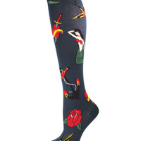Socksmith Tattoo Print Knee High Socks in Teal