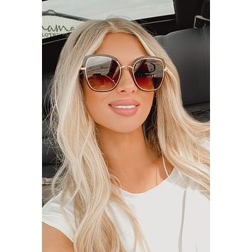 Jealous Much Floats Round Cat Eye Sunglasses (Gold/Brown)