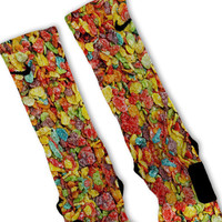 Cereal Fruity Pebbles Custom Nike Elite Socks