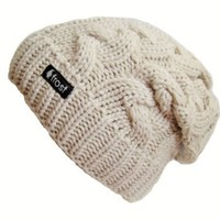 Frost Hats Winter Hat for Women BEIGE Slouchy Beanie Cable Hat Knitted Winter Hat Frost Hats One Size Beige: Clothing
