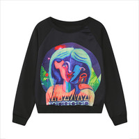 Black Girl Paint Print Loose Sweatshirt