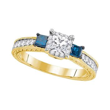 14k Yellow Gold 3-stone Blue Diamond Wedding Bridal Engagement Ring 1 Cttw