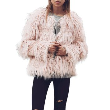 New Womens Winter Warm Faux Fur Coat Collarless Round Neck Long Sleeve Covered Button Jacket Winter Fashion Parka Outerwear