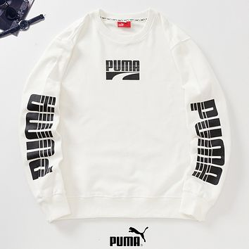 PUMA New fashion letter print couple long sleeve top sweater White