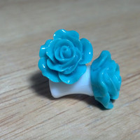 Buy 2 Pairs/Get 3rd FREE! Ocean Blue Pastel Small Flower Rose Plugs/Gauges 10G 8G 6G 4G 2G 0G 00G 1/2 9/16
