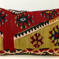 """Colorful kilim pillow, 14X20"""" Wool Pillow, Turkish Pillow Covers, Kilim Cushions, Bohemian Vintage pillow, Ethnic Pillow, Rug Cushion Covers"""