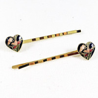 Black heart hair pin, cloisonné hair pin, gold bobby pin, flower hair pin, vintage jewelry hair pin, flower bobby pin, heart bobby pin