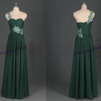 Latest dark green chiffon prom dresses with lace,floor length gowns for holiday party,unique elegant evening dress in 2014