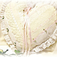 Vintage Ribbons & Lace Heart Shaped Ring Bearer Pillow - Wedding Pillow, Ring Pillow, Ring Bearer - SALE