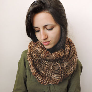 FREE SHIPPING Wool infinity scarf Brown and beige scarf Extra long Circle warm scarf Bulky and soft Multicolor Eternity brown loop scarf