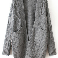 Grey Long Sleeve Knit Pockets Cardigan