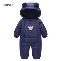 Winter Baby Rompers 2017 Baby Girls Boys Clothes Hooded Baby Boys Rompers Cotton-padded Jumpsuits Infants Kids Winter Clothes