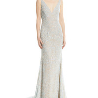 Naeem Khan Beaded Cowl-Back Gown
