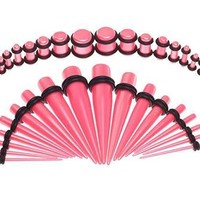 BodyJ4You Gauges Kit Metallic Pink Acrylic Tapers Plugs 14G-00G Ear Stretching Set 36PCS