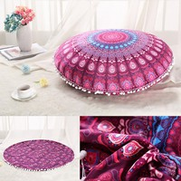 2016 NEW High Quality Plush Material Large Mandala Floor Pillows Round Bohemian Meditation Cushion Cover Ottoman Pouf