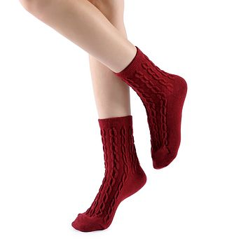 Bella Cable Knit Wool Crew Sock | Red