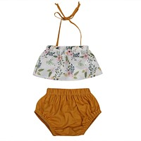 born Kid Toddler Baby Girl Floral Belt Hater Top Triangle shorts Outfit Set Clothes