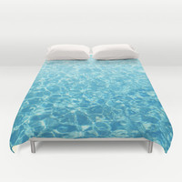 Crystal Oceans - Duvet Cover, Aqua Blue Beach Style Nautical Cover, Caribbean Waters Surf Accent Bed Blanket Throw. In Twin Full Queen King