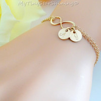 Gold Infinity Bracelet with Initial Personalized Infinity Bracelet 14k Gold filled Infinity Bracelet Initial Bracelet Mother's Bracelet