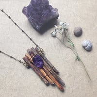 raft | raw amethyst necklace - wood crystal necklace - rustic pendant - wabi sabi - woodland witch necklace - natural jewelry