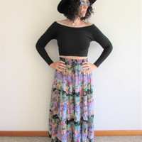 Super Cute Spring Summer 90s Floral Gypsy/ Boho Crinkle Rayon Maxi Skirt