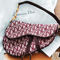 Dior Multi-print Saddle Bag Saddle Cross-body Portable Wide Strap