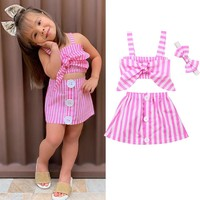 US Toddler Baby Girls Kids Crop Tops + Skirt Dress Outfit Set Clothes Sunsuit