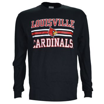 "University of Louisville: ""L'ville Stripes"" Cardindals Basketball on Long Sleeve Black"