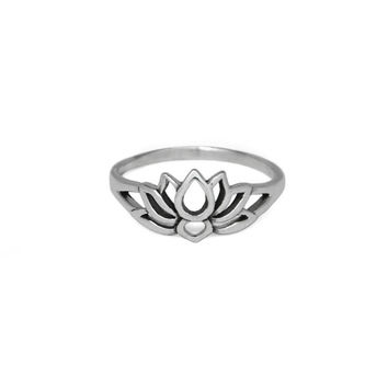 Silver Lotus Flower Ring, Solid 925 Sterling Silver Ring, Everyday Flower Jewelry, Gifts Ideas