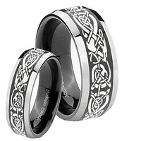 His Hers Celtic Knot Dragon Beveled Glossy Black 2 Tone Tungsten Mens Ring Set
