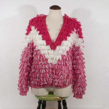 Le Sweater Cardigan Vintage 1970s Loopy Shag Women's size Small