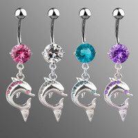 14g Dangling Gem Dolphin Belly Button Ring Dangle Navel Body Jewelry Piercing with Surgical Steel Curved Barbell 14 Gauge