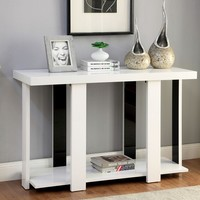 Lakoti II collection contemporary styling white and black high gloss sofa console entry table