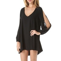 SUNNOW Women Sexy Off Shoulder V-neck A-line Mini Strapless Loose Casual Dress