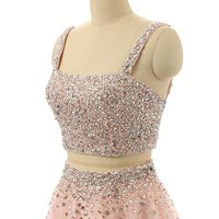 HuaMei Women's Two Pieces Beads Short Cocktail Dresses Mini Girls Homecoming Party Gowns 16 US Pink