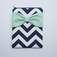 iPad Mini - Kindle - Nook - eReader Case - Navy and White Chevron Mint Bow - Padded