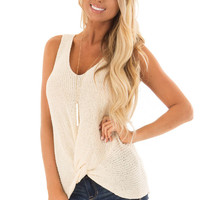 Cream Textured Knit Tank Top with Front Twist Detail